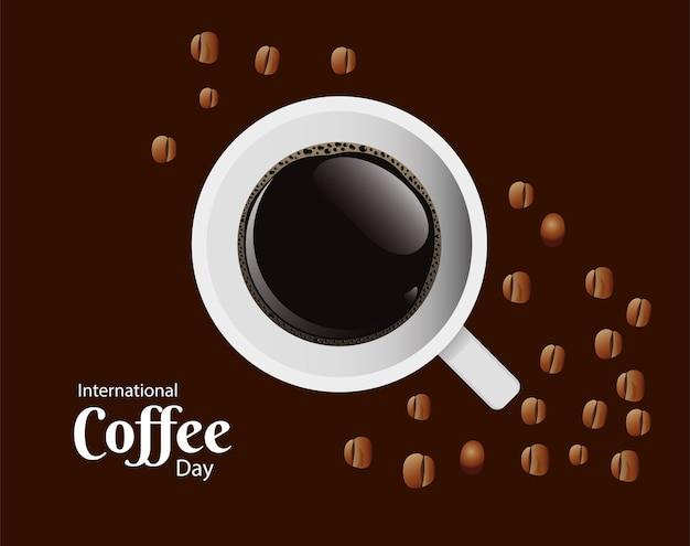 Tarjeta del día internacional del café con taza de café y diseño de ilustración de vector de vista aérea de granos