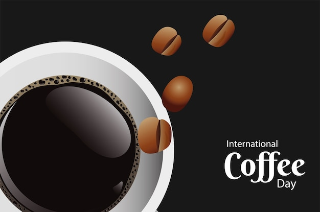 Tarjeta del día internacional del café con taza de café y frijoles vista aérea, diseño de ilustraciones vectoriales