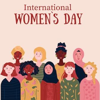 Tarjeta del día internacional de la mujer para el 8 de marzo mujeres multinacionales para el apoyo al empoderamiento
