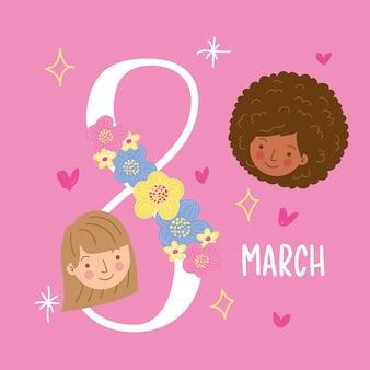 Tarjeta del día internacional de la mujer con caras de niñas y texto de marzo entre estrellas y corazones. ilustración