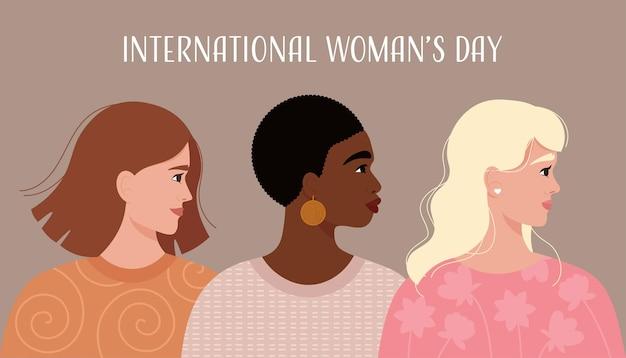 Tarjeta del día internacional de la mujer con diferentes retratos de mujeres sonrientes en un moderno estilo plano