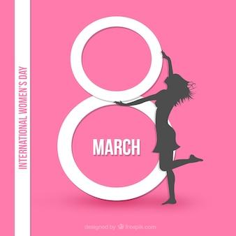 Tarjeta del día internacional de las mujeres en color rosa