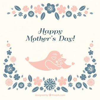 Tarjeta del día de la madre de adorables pájaros