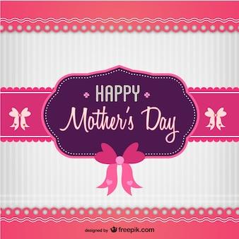 Tarjeta día de la madre blanca y rosa