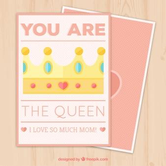 Tarjeta del día de la madre bonita con corona decorativa