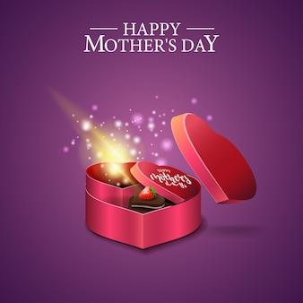 Tarjeta del día de la madre con una caja de regalo en forma de corazón.