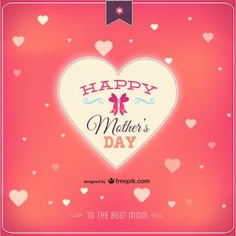 Tarjeta para el día de la madre con corazones