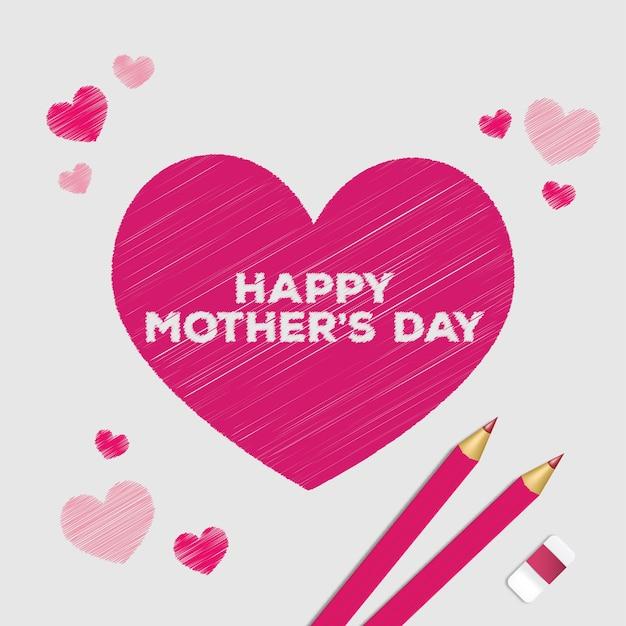 Tarjeta del día de la madre dibujado a mano lindo
