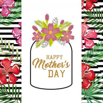 Tarjeta del día de la madre feliz con decoración floral.