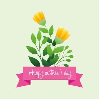 Tarjeta del día de la madre feliz con decoración de flores y hojas