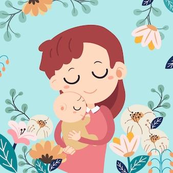 Tarjeta del día de la madre. feliz día de la madre . madre y su bebe con flores