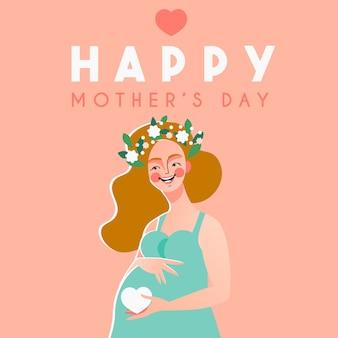 Tarjeta del día de la madre feliz con feliz mujer embarazada