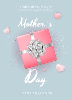 Tarjeta del día de la madre feliz con flores de tulipán realistas.
