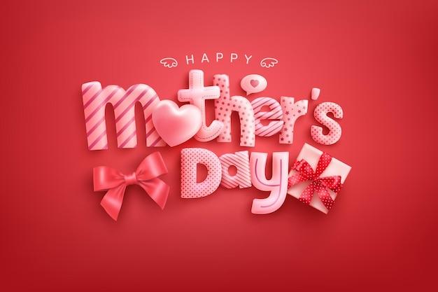 Tarjeta del día de la madre feliz con fuente linda, corazones dulces y caja de regalo sobre fondo rojo