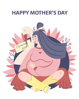 Tarjeta del día de la madre feliz. mujer embarazada ilustracion