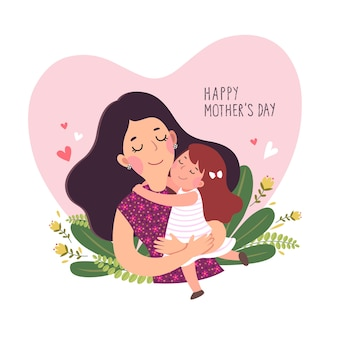 Tarjeta del día de la madre feliz. niña linda abrazando a su madre en forma de corazón.