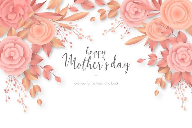 Tarjeta del día de la madre con flores elegantes