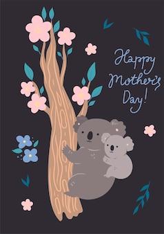 Tarjeta del día de la madre con lindos koalas