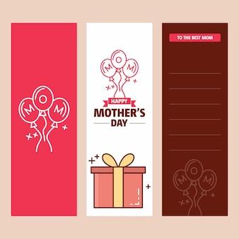 Tarjeta del día de la madre con el logo de caja de regalo y vector de tema rosa