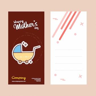 Tarjeta del día de la madre con el logo de cochecito y el vector de tema rosa