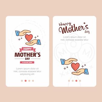 Tarjeta del día de la madre con el logo de corazón y el vector de tema rosa