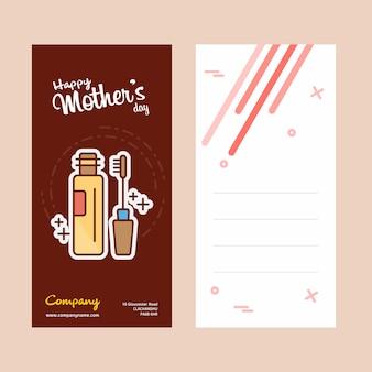 Tarjeta del día de la madre con el logo de los cosméticos y el vector tema rosa
