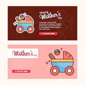 Tarjeta del día de la madre con el logo creativo y el vector de tema rosa