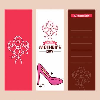 Tarjeta del día de la madre con el logo de escandalo y vector de tema rosa