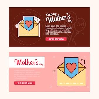 Tarjeta del día de la madre con el logo de la letra y el vector del tema rosa