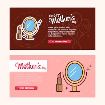 Tarjeta del día de la madre con el logo de la mujer y el vector tema rosa