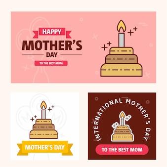 Tarjeta del día de la madre con el logo de la torta y el vector tema rosa