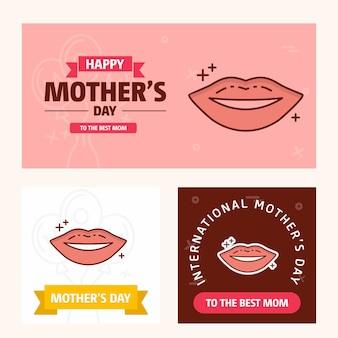 Tarjeta del día de la madre con el logotipo de los labios y el vector tema rosa