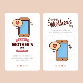 Tarjeta del día de la madre con el logotipo del teléfono inteligente