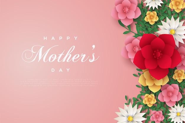 Tarjeta del día de la madre con marco de flor color de rosa de colores en tarjeta rosa.