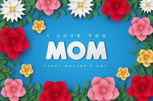 Tarjeta del día de la madre con marcos de flores color de rosa de colores.