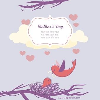 Tarjeta para el día de la madre con pájaros