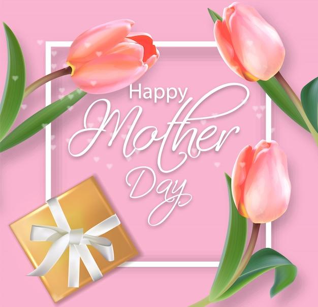 Tarjeta del día de la madre con ramo de tulipanes.