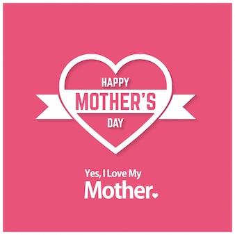 Tarjeta del día de la madre rosa con corazón