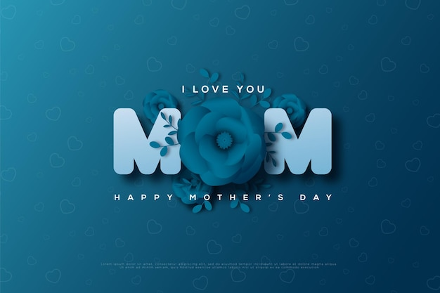 Tarjeta del día de la madre con rosas en sustitución de la letra o.