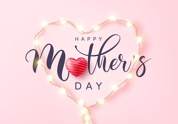 Tarjeta del día de la madre con símbolo de corazón de luces led
