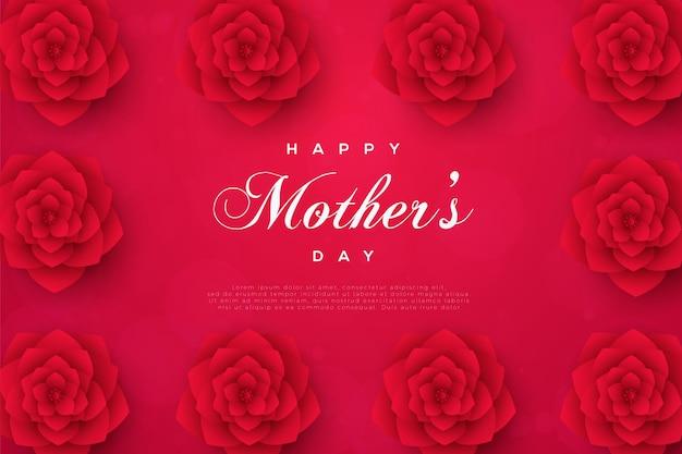 Tarjeta del día de la madre con tarjeta enmarcada de rosa roja.