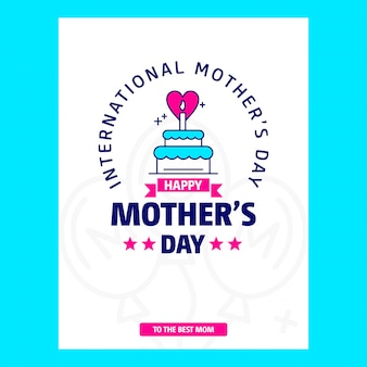 Tarjeta de día de la madre con tema azul y vector de diseño creativo