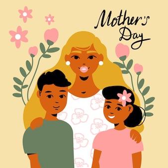 Tarjeta del día de la madre con texto adornado e imágenes de flores que rodean a los miembros de la familia, mamá con niños, ilustración