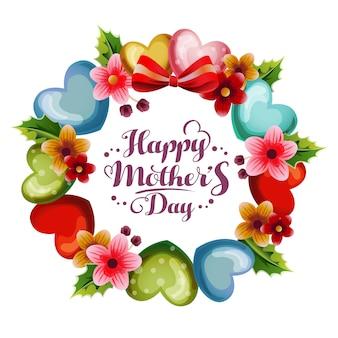 Tarjeta de día de madres de corona de flores y amor