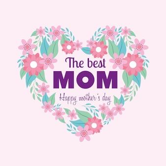Tarjeta del día de las madres felices con adornos de corazón y flores