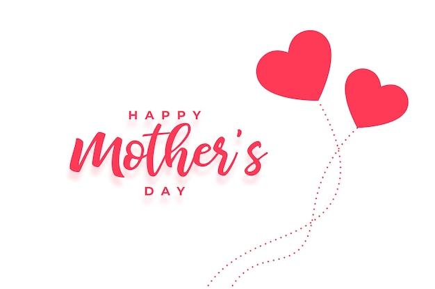 Tarjeta del día de las madres felices con dos corazones