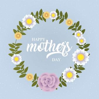 Tarjeta del día de las madres felices con marco circular floral