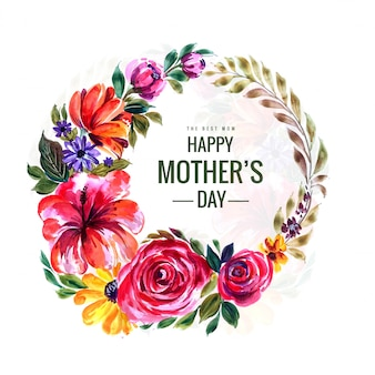 Tarjeta del día de las madres felices con marco circular de flores