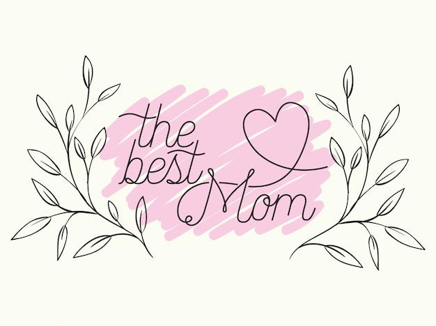 Tarjeta del día de las madres felices con marco circular de hierbas