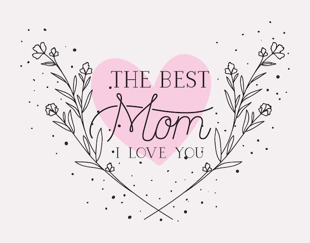 Tarjeta del día de las madres felices con marco de corazón de hierbas